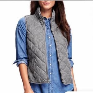 Old Navy Gray Quilted Vest Medium